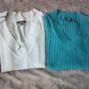Two Express V-Neck stretchy Sweaters, Small